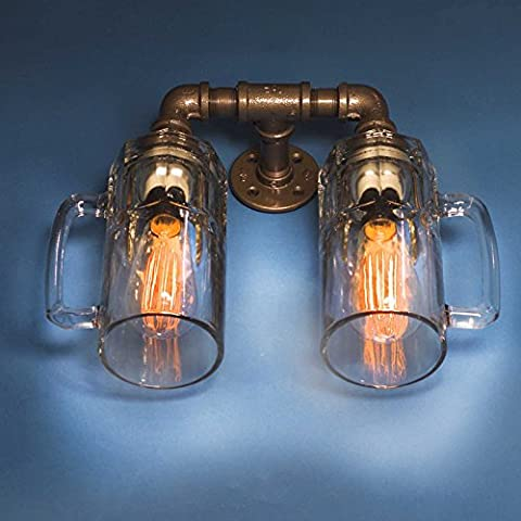 LOFT Retro Industrial Water Pipe Faucet Bouteille Single / 2 Head Wall Lamp American Creative Halloween / Festival de Noël DIYBeer Cup Bar Restaurant Aisle Wall Light ( conception : D