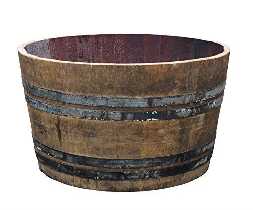 Temesso Altes Weinfass halbiert aus Eichenholz Bordeaux Rustique -als Pflanzkübel oder Miniteich...