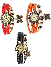 RTimes Red, Orange and Black Vintage Designer Leather Set of 3 Multicolor Bracelet Butterfly Watch for Girls, Women