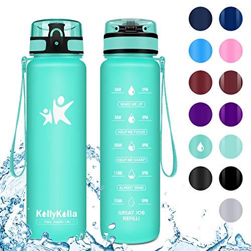KollyKolla Trinkflasche - BPA-frei Auslaufsicher Sport Wasserflasche, 1L Tritan Sportflasche Kohlensäure Geeignet Kunststoff mit Filter für Kinder, Schule, Baby, Fahrrad, Gym, Matt Smaragd -