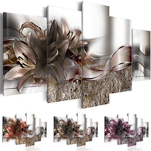 Quadro 200x100 cm - Tre colori da scegliere - 5 Parti - Grande Formato - Quadro su tela fliselina - Stampa in qualita fotografica - fiori astrazione b-A-0273-b-o 200x100 cm B&D XXL