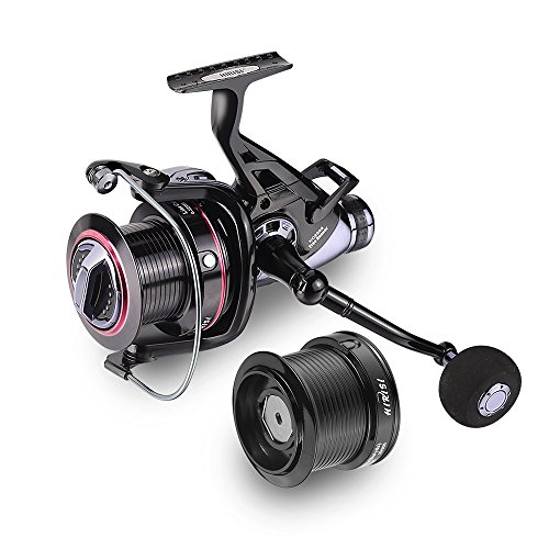Karpfen der Fischerei Rollen Big Pit Baitrunner Double Bremse 10 + 1 Kugellager Spinning Fishing Reel HQ8000