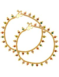 Memoir Gold Plated Colourful Stone Coin Shape Traditional Ethnic Marriage Bridal Anklet Jewellery For Women