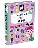 Janod–Magnet libro costumi per ragazza 46Magnete + 8carte, 19x 4x 26cm, colore: viola