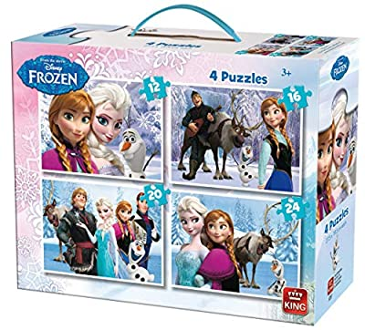 King Disney 4in1 Puzzle Frozen 12pieza(s) - Rompecabezas (Jigsaw Puzzle, Dibujos, Niños, Disney, Frozen, Chica) de King