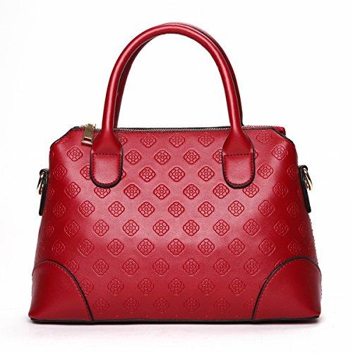 Weibliche strömung Geprägte tasche handtaschen Schulter messenger bag Rotwein