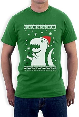 Weihnachten Fun Motiv T-Rex Dino Schneeflocken Winter T-Shirt Small Grün