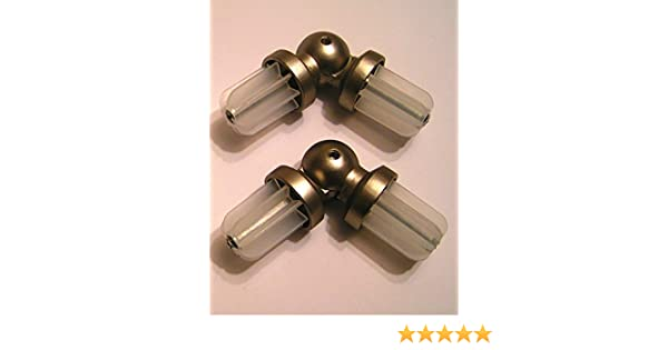 2 x 19mm Satin Nickel Bay Window Curtain Pole Elbow Joint ...