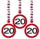 bb10 Schmuck 20 Geburtstag Deko Rotorspiralen mit Zahl 20 3er Set Hängende Dekoration zum 20er Geburtstag Party oder andere Anlässe
