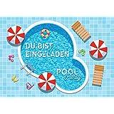 12 Einladungskarten zum Kindergeburtstag Schwimmbad Party / Pool Party / schöne und bunte Einladungen