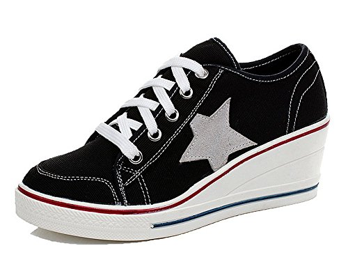 40b801b20f35d8 Padgene Girls  Wedge Heel Canvas Sneakers Ladies Lace up Low TOP Pumps  Trainers Sports Shoes UK Size 2.5 3 4 5 6 7 8 9 (Plus Size)