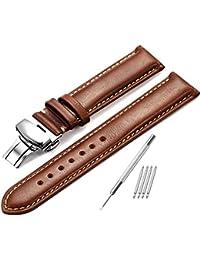 Piel auténtica correa para reloj 18mm 20mm 22mm de repuesto reloj banda hebilla de pulido Super suave–color marrón oscuro