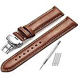 Bracelet de montre de rechange en cuir marron foncé avec boucle polie (18 / 20 / 22 mm) - Marron - 20 mm