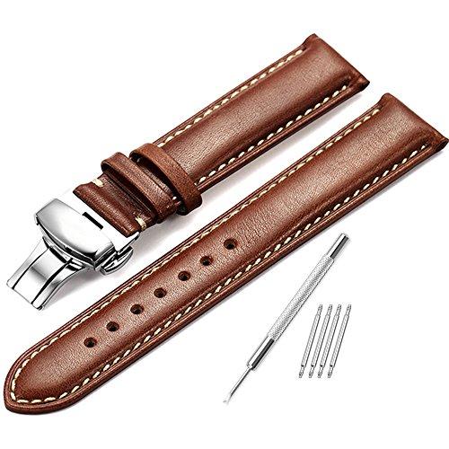 iStrap 20mm echtes Leder Uhrenarmband gepolstertes Muster Ersatz Uhrenarmband poliert Schmetterling Wölbung super weich-dunkelbraun mit beige Stich