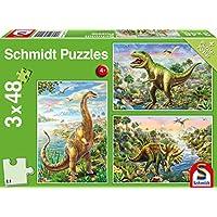Schmidt 56202 Dinosaur: Adventure Puzzle, Abenteuer mit den Dinosauriern, 3x48 Teile