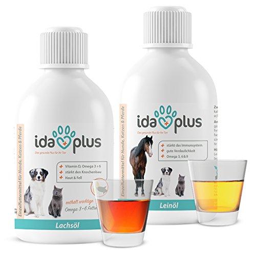 IdaPlus - BARF Lachsöl & Leinöl [kaltgepresst] Set für Hunde, Katzen & Pferde | Reich an Vitamin D, Omega-3 & 6 Fettsäuren | Fördert starken Knochenaufbau und sorgt für ein glänzendes Fell (2x500 ml)