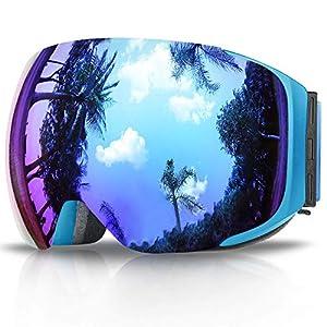 Skibrille, eDriveTech Ski Snowboard Brille Brillenträger Schneebrille Snowboardbrille Verspiegelt- Für Skibrillen Damen Herren – OTG UV-Schutz Anti Fog Verbesserte Belüftung für Skifahren, Snowboarden