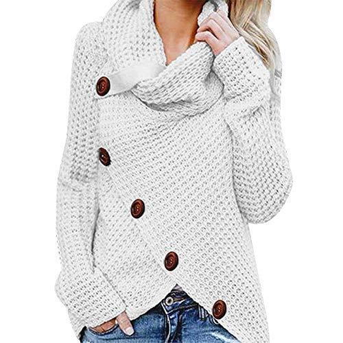 iHENGH Damen Herbst Winter Übergangs Warm Bequem Slim Mantel Lässig Stilvoll Frauen Langarm Solid Sweatshirt Pullover Tops Bluse Shirt (Weiß-1, 4XL)