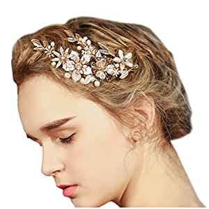 Wedding Bridal Golden Floral Hair Clips With Bling