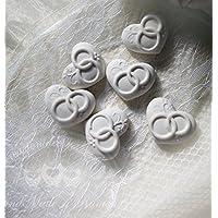 Gessetti profumati 25 cuori con fedi 3x2,5 cm segnaposto matrimonio,nozze