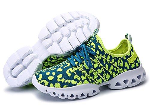 IIIIS-R Herren Laufschuhe Sportschuhe mit Luftpolster Turnschuhe Leichte Schuhe Blau Grün