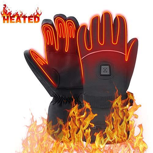 Mermaid Beheizte Handschuhe mit 7.4V-Akkus, Herrenhandschuhe für chronisch kalte Hand, Handwärmer-Handschuhe Erhitzte Motorradhandschuhe für Geschenke, Jagd, Arbeiten im Freien (Schwarz XL)