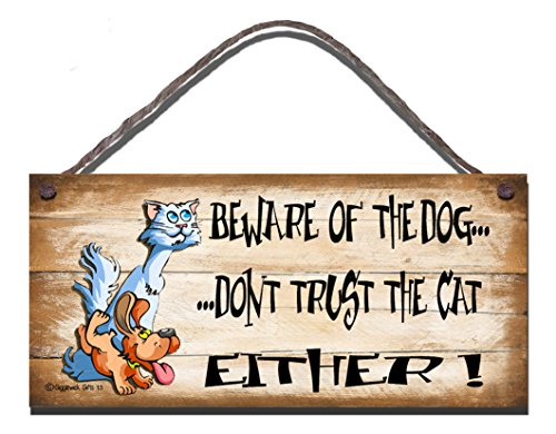 Shabby Chic Birthday Occasion Wooden Funny Sign Wall Plaque Beware Of The Dog Don't Trust The Cat Either Gift Present by Gigglewick Gifts