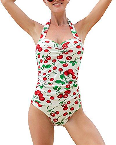 Mujer Vintage 50s Pin Up Halter Traje de Baño de Una Pieza Monokinis Glauco 2XL