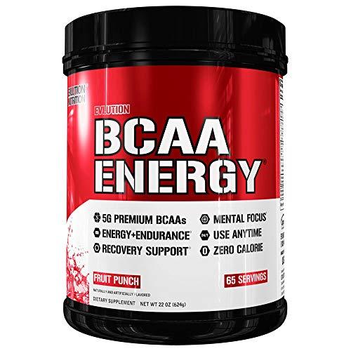 Evlution Nutrition BCAA Energy   Leistungsstarke Energiespendende Aminosäuren Für Muskelaufbau, Erholung Und Ausdauer (Fruit Punch, 65 Portionen) -