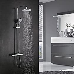 BONADE shower system with thermostat rain shower incl. Shower head adjustable shower rod 75-125cm