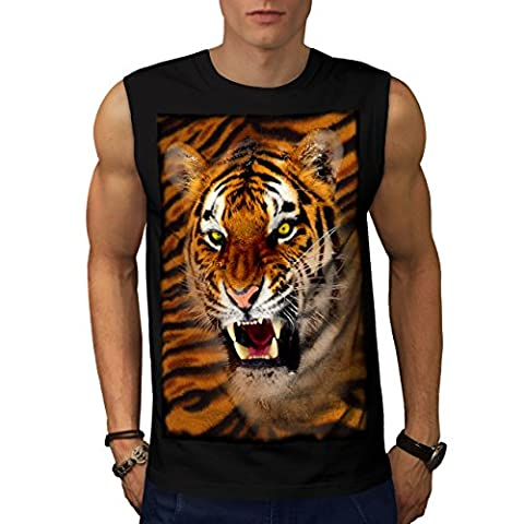 Furious Tiger Look Wild Cat Men NEW Black M Sleeveless T-shirt | Wellcoda