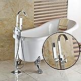 FY Rubinetto per vasca da bagno con piedini Clawfoot montato a pavimento Cromato Rubinetto per doccia con maniglia singola