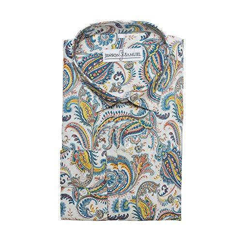 Herren Hemd, 100% Baumwolle, reguläre Passform, bedruckt mit floralem Paisley-Muster, S M L XL 2XL 3XL 4XL, Kragenweite 37