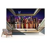 Skyline Der Stadt Nacht 3D-Dachfens...