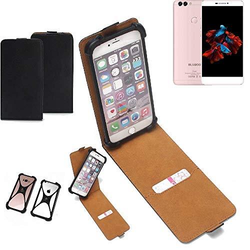 K-S-Trade Flipstyle Hülle Bluboo Dual Handyhülle Schutzhülle Tasche Handytasche Case Schutz Hülle + integrierter Bumper Kameraschutz, schwarz (1x)