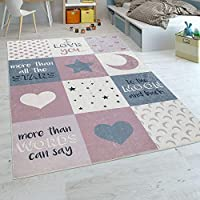 Paco Home Childrens Rug Childrens Bedroom Girls Washable Hearts Stars Moon Slogan Pink Grey