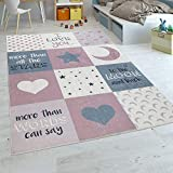 Paco Home Tappeto per Bambini Stanza dei Bambini Femminucce Lavabile Cuori Stelle Luna Detto Rosa Grigio, Dimensione:120x160 cm