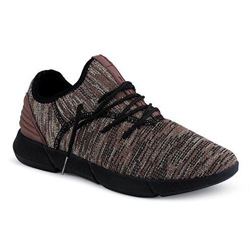 FiveSix Herren Sportschuhe Strick Textil Mehrfarbig Sneaker Braun EU 40