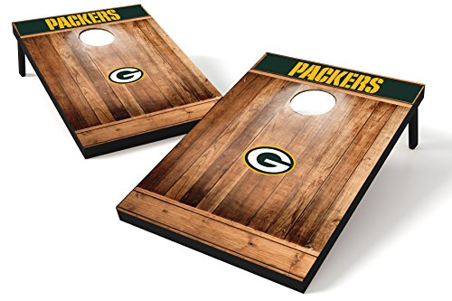 Wild Sports NFL Heckklappen-Toss aus Holz, Teamfarbe, Unisex, Green Bay Packers Tailgate Toss - Brown Wood Design, Team Color, 2'x3'