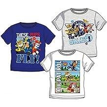Pack de 3 Camisetas Diferentes Modelos Diseño Patrulla Canina Paw Patrol (Nickelodeon) Tallas 3, 4, 5 y 6 Años (100% Algodon)