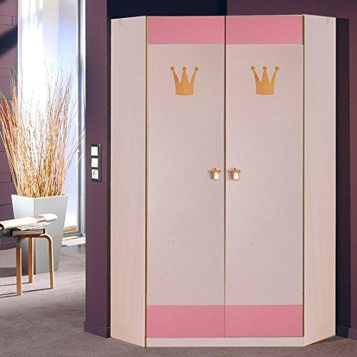 Kleiderschrank Sissi, Wäscheschrank, Eckschrank weiß/rosa