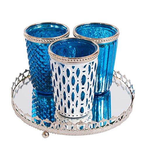 Antike Glas Schalen (3er Windlichtset Teelichtglas mit Spiegelplatte Teelichthalter Kerzenglas Windlicht Glas Kerzentablett (Blau) Antik)