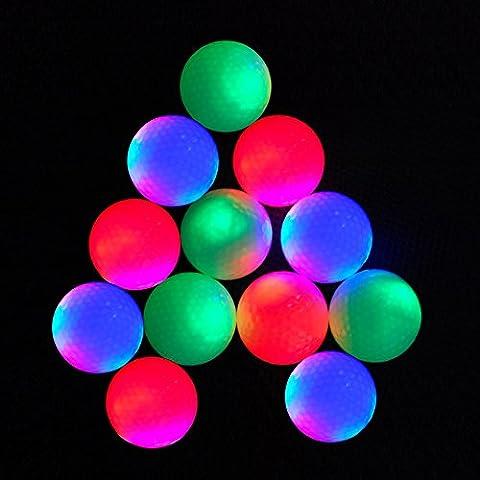 12Stück Golf Ball Blinklicht Golf Ball Super Bright Night Flyer Glowing LED Golf Ball (unterschiedliche Farben)