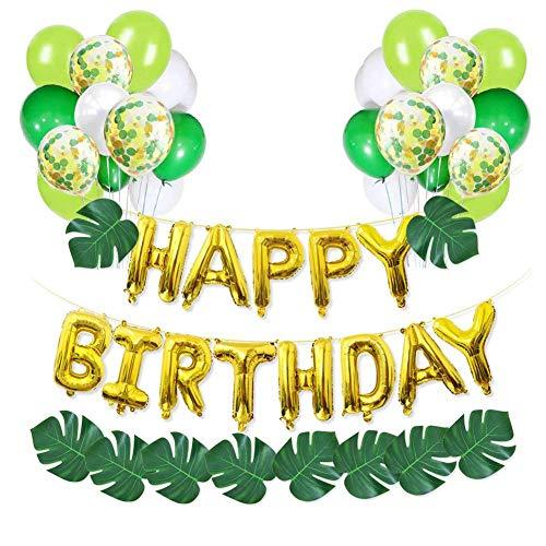 Geburtstag Party Dekoration Ballons Lieferungen, Konfetti Luftballons Grün, Waldthema Party Ballon Set, Hawaiian Dinosaurier Party Und Waldgeburtstagsfeier Dekoration (Ballons Party Lieferung)