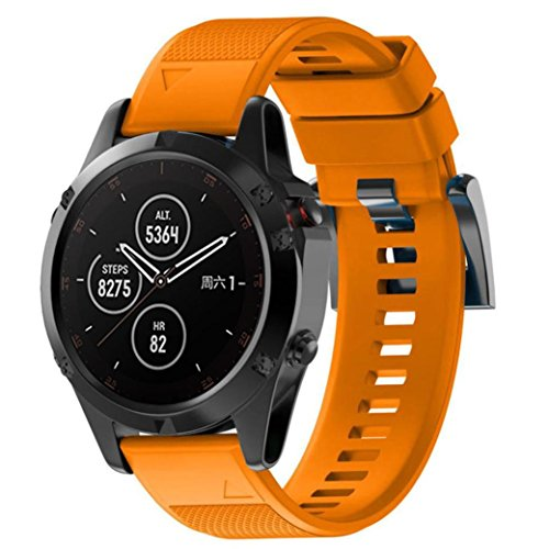 Voberry Armband,Ersatz Silicagel Soft Band Quick Install Band für Garmin Fenix 5 Plus (Orange)