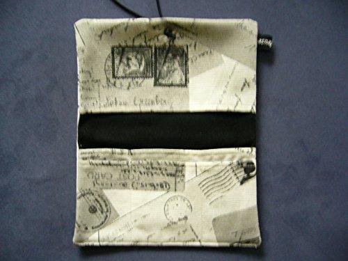 Büroteuse Tabaktasche / Drehertasche im schwarzem old Postcard-Design, jede Tasche ein Unikat! rot/schwarz