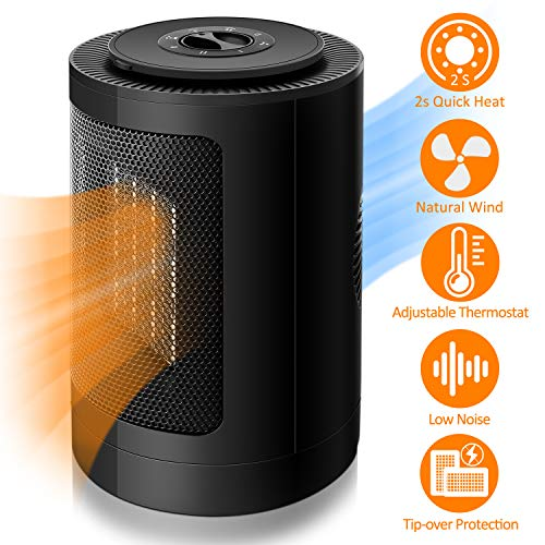 Fan Heater, Portable Personal Space Heater, 90° Auto Oscillation Electric Heater, 1500/750W PTC Ceramic Heater, Adjustable Thermostat, Tip-Over/Overheat Protection, Nature Wind, for Home/Office/Gift