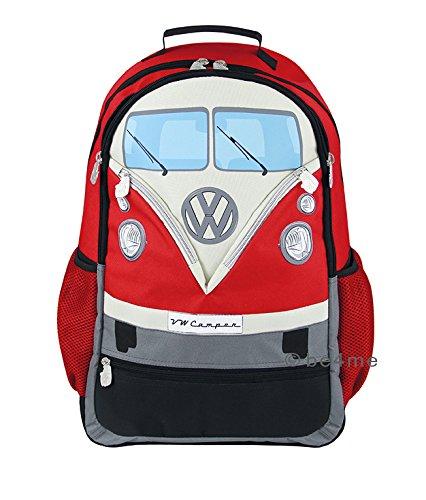 BRISA VW Collection Laptop Rucksack mit VW Bulli T1 Front, 30 L (Rot) -
