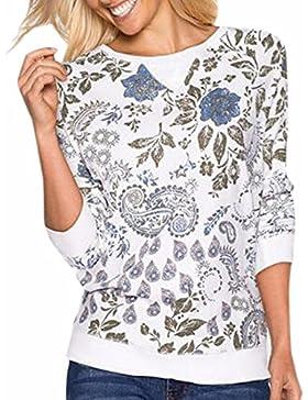 QIYUN.Z Paisley Mujeres Ocasional De La Impresión Floral Tops De La Camiseta Blanca