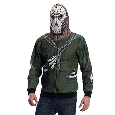 Freitag der 13. Jason Voorhees Kostüm Kappu-Jacke Horror Kostüm für Halloween und Karneval - XL (Jason Kostüm Freitag Der 13.)